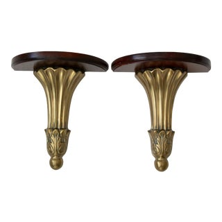 Brass Wood Brackets Accent Wall Shelves in the Style of Chelsea House- a Pair For Sale