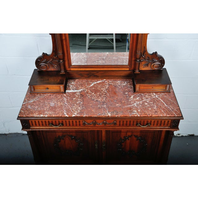 1900's French Walnut Vanity Dresser with Red Italian Marble Top For Sale - Image 9 of 13