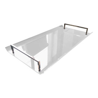 Serving Tray in Lucite and Polished Nickel by Charles Hollis Jones For Sale