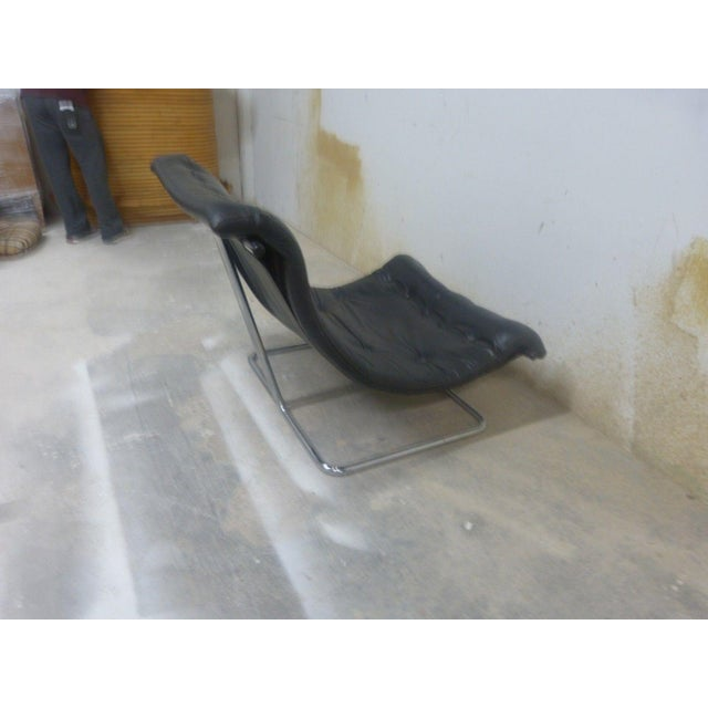 1960s Stylish Quality 60's Architectural Aluminum and Leather Scoop Chair For Sale - Image 5 of 7
