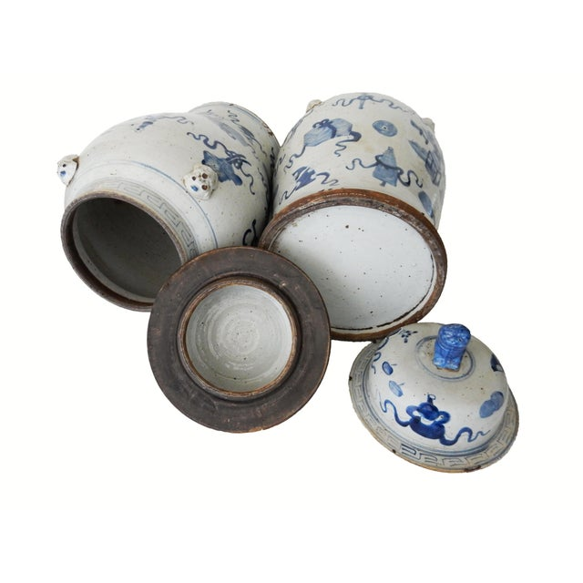 """Superb Large Chinoiserie Blue & White Ginger Jars - a Pair 23"""" H For Sale In New York - Image 6 of 8"""