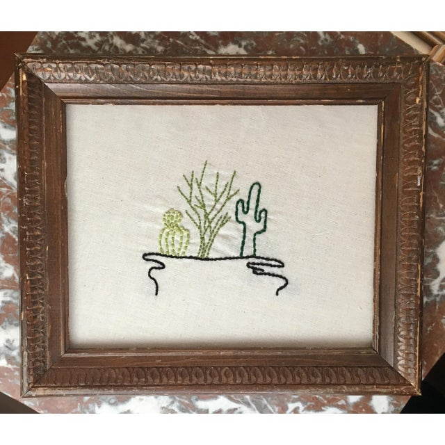 Antique Framed Cactus Embroidered Art - Image 6 of 6