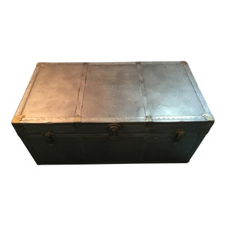 Contemporary Industrial Metal Trunk For Sale