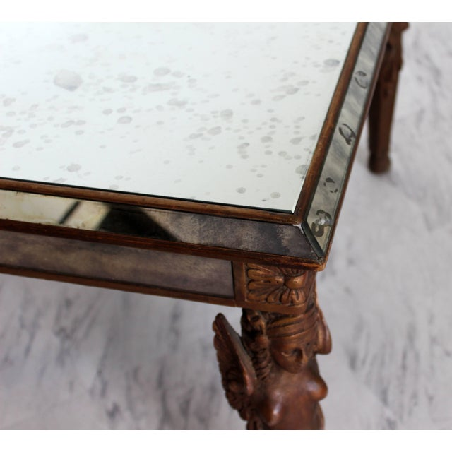 Brown Antique Art Deco Carved Wood and Mirrored Glass Coffee Occasional Table For Sale - Image 8 of 9