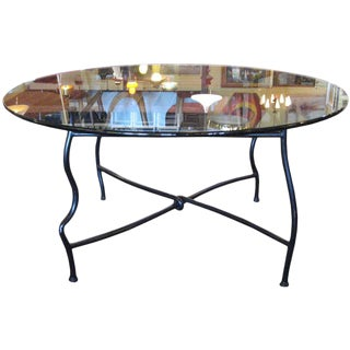 Mid-Century Gun Patinated Steel Base Dining Table With Glass Top