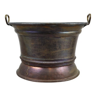 Vintage Hand Hammered Rolled Rim Copper Bowl Planter