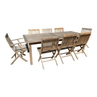 Barlow Tyrie Outdoor Dining Set Teak 9-Piece For Sale