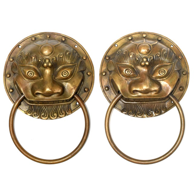 Late 20th Century Small Beast Motif Brass Knockers- a Pair For Sale - Image 13 of 13