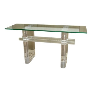 Mid-Century Karl Springer Lucite Console With Glass Top For Sale