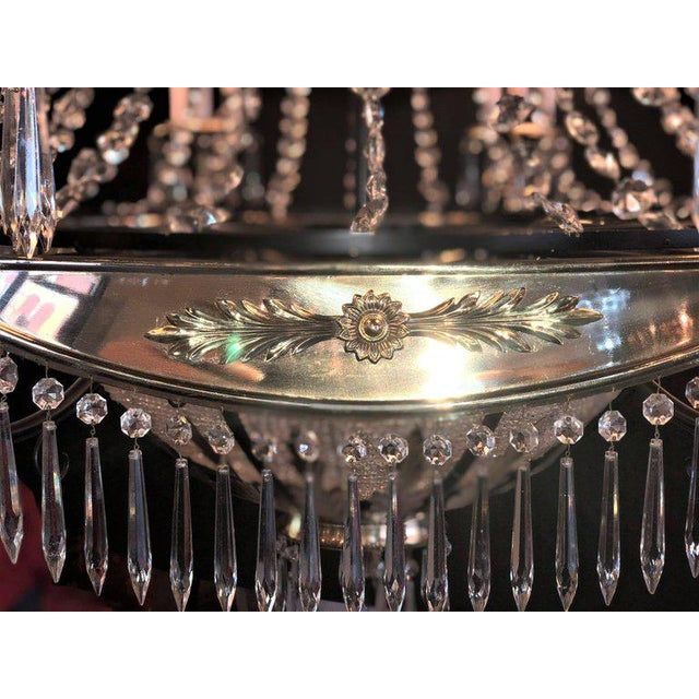 A Pair of Art Deco Palatial Eight Arm Ebony and Brass Chandeliers w Shades For Sale - Image 9 of 12