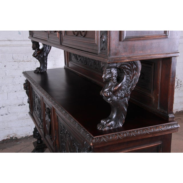 Metal 19th Century French Black Forest Carved Walnut Sideboard or Bar Cabinet For Sale - Image 7 of 13