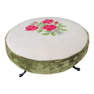 Embroidered Three-Leg Footstool For Sale