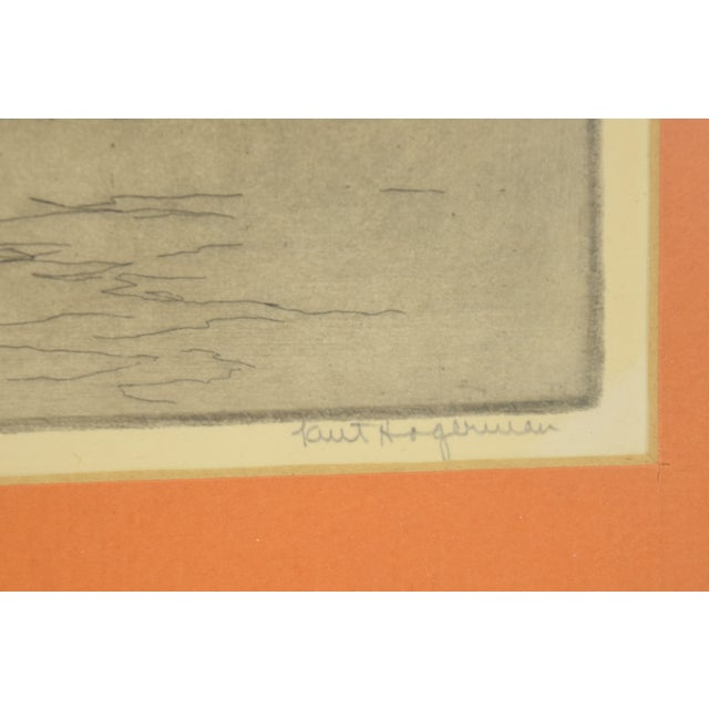 1950's William Kent Hagerman Chicago Lakefront Skyline Speedboat Etching Print For Sale In Chicago - Image 6 of 10