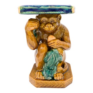 20th Century Boho Chic Majolica Monkey Plant Stand For Sale