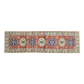 Hand-Knotted Red Kazak Tribal and Geometric Design Runner- 2′8″ × 9′5″ For Sale