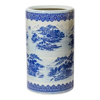 Vintage Blue & White Glazed Ceramic Asian Umbrella Stand For Sale