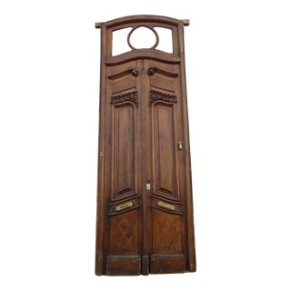 Antique Parquetry Doors with Transom Window For Sale
