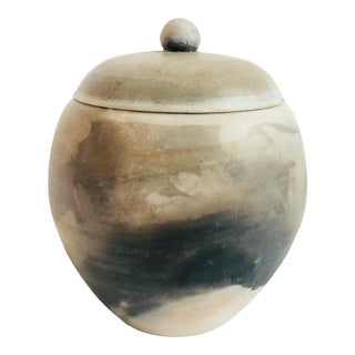 Vintage Raku Pottery Container For Sale