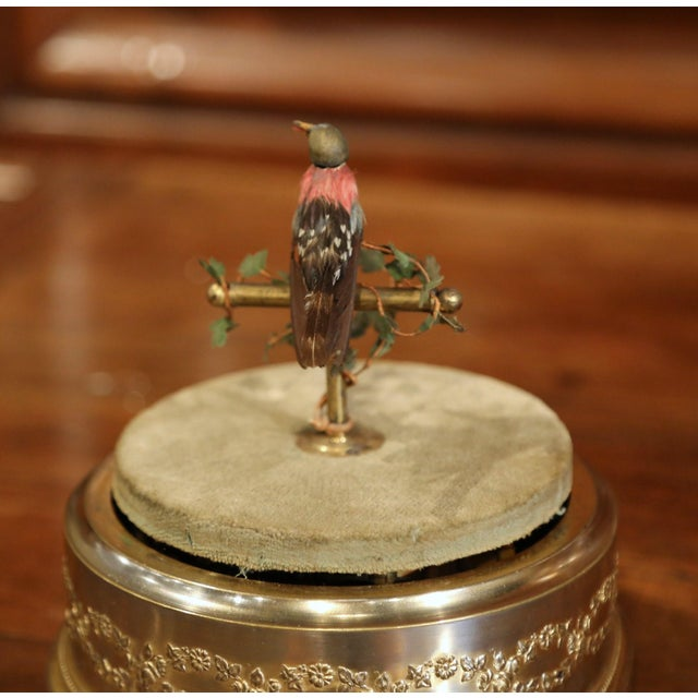 19th Century French Automaton Singing Bird in Brass Cage For Sale - Image 10 of 13