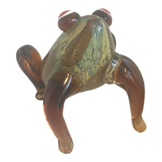 Dale Tiffany Hand Blown Glass Frog Figurine For Sale
