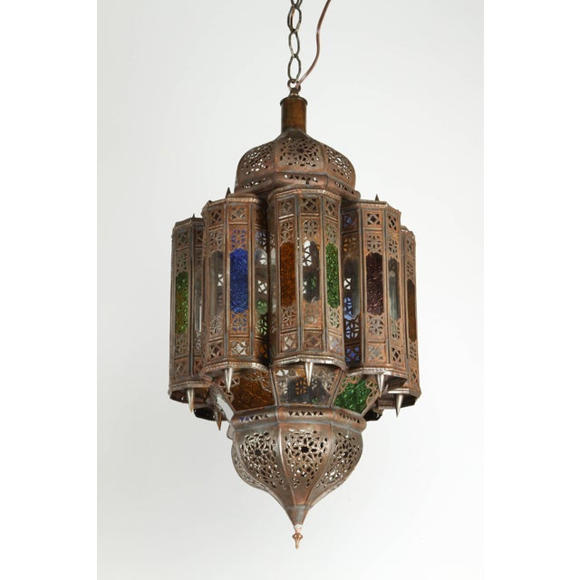 Brass Vintage Moroccan Mamounia Glass Pendant For Sale - Image 7 of 7