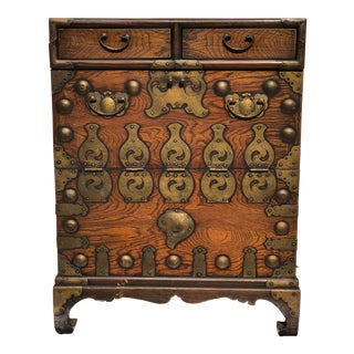 Antique Petite Japanese Chinoiserie Tansu Blanket Cabinet Chest For Sale