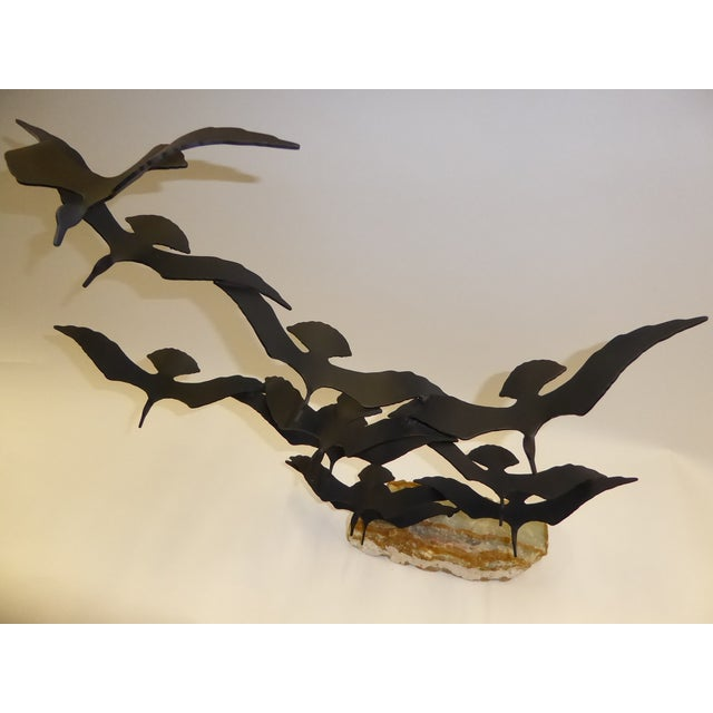 "Mid-Century Modern Bijan ""Flock of Seagulls"" Kinetic Metal Sculpture For Sale - Image 3 of 12"