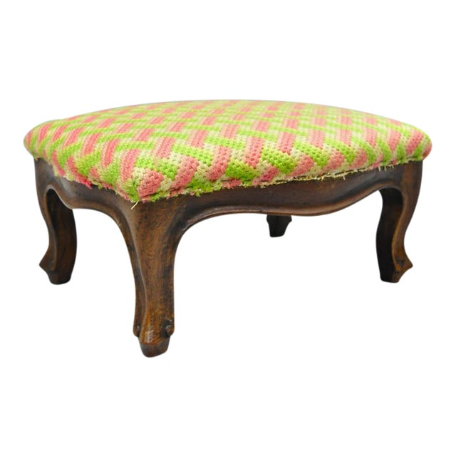 Early 20th Century Antique Louis XV Style Walnut Footstool For Sale