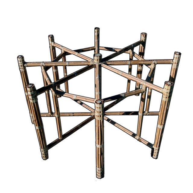1990s Boho Chic Large McGuire Octagonal Bamboo and Rattan Dining Table Base For Sale - Image 9 of 9