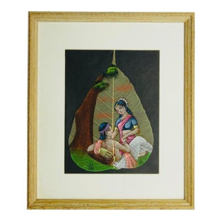 Hand Painted Indian Couple on a Leaf in Frame For Sale