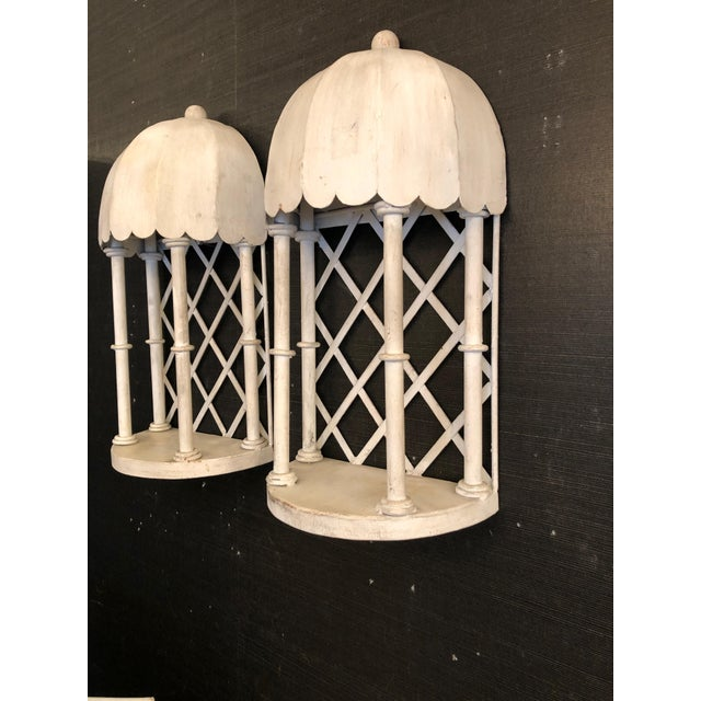 1960s French Iron & Tole Wall Brackets Sconces - a Pair For Sale In Philadelphia - Image 6 of 7