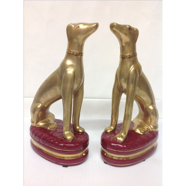 Hollywood Regency Porcelain Whippet Statues - Pair - Image 4 of 6