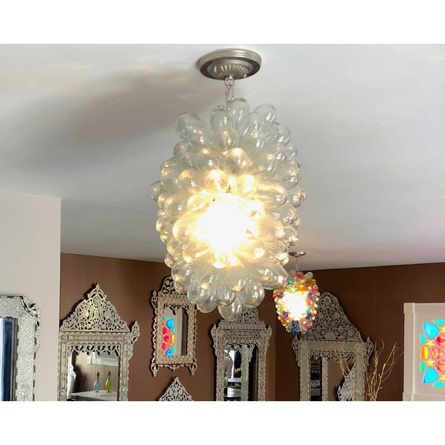 2010s Clear Handblown Glass Light Fixture For Sale - Image 5 of 10