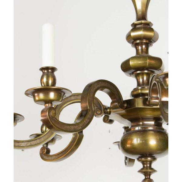 Metal Eight Light Antique Brass Chandelier For Sale - Image 7 of 9