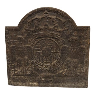 Early 1800s Heraldic Cast Iron Fireback from France For Sale
