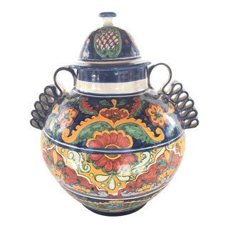 Late 19th Century Vintage Mexican Talavera Ribbon Vase For Sale