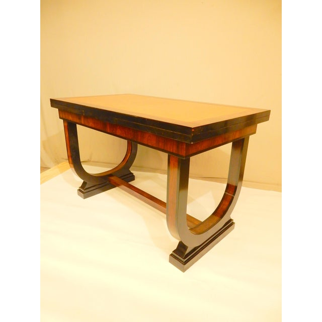 Art Deco Art Deco Leather Top Table With Extensions For Sale - Image 3 of 11