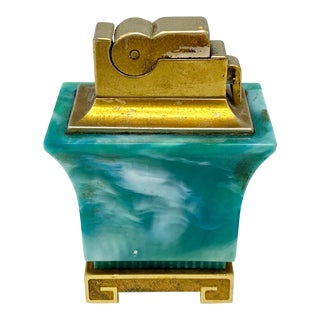 Mid Century Green Asian Pagoda Table Lighter For Sale