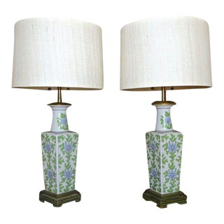 Marbro Asian Floral Porcelain Table Lamps - a Pair For Sale