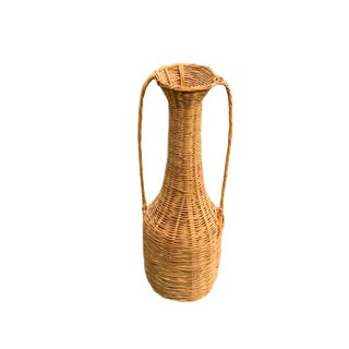 Mid 20th Century Vintage Rattan Floor Vase For Sale