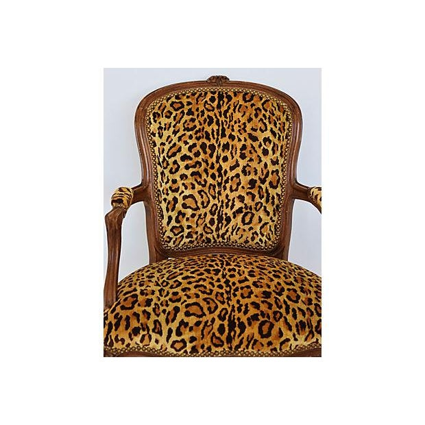 Early 21st Century 1950s Leopard Velvet Carved Armchair For Sale - Image 5 of 12