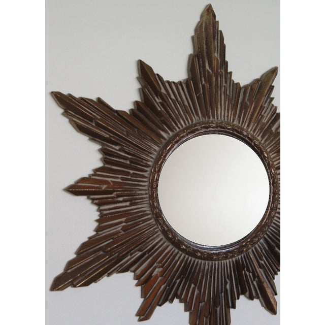 Mid-Century Modern Mid-Century Convex Sunburst Mirror For Sale - Image 3 of 7