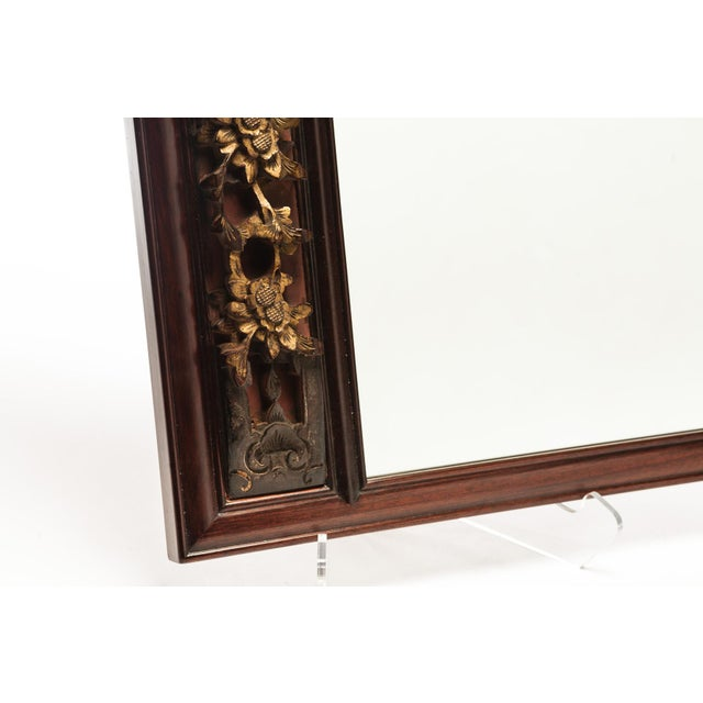 Asian 19th Century Chinese Custom Made Rosewood Mirror With Gilded Gold Carving For Sale - Image 3 of 7