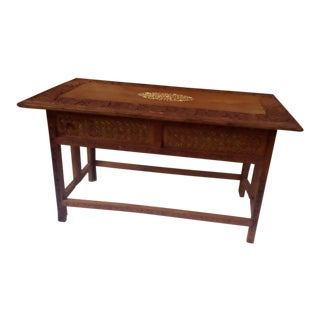 Mid Century Hand Carved Teak Wood Coffee Table For Sale