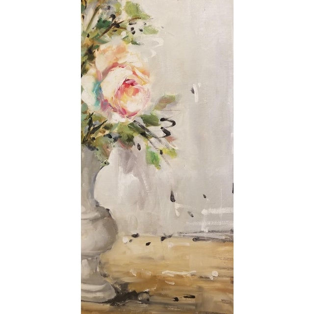Boho Chic Bouquet of Roses Signed French Oil Painting on Linen For Sale - Image 3 of 8