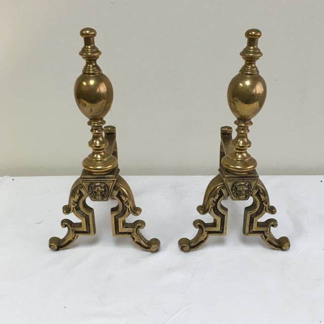 English Brass Lion Andirons - A Pair - Image 2 of 6