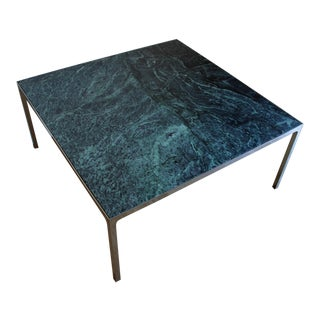 1960s Mid Century Modern Nicos Zographos Verde Alpi Marble Square Coffee Table For Sale