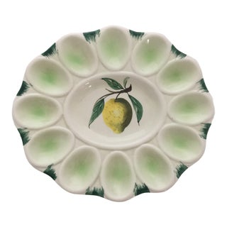 Vintage Green and White with Lemon Hand Painted Egg Dish from Italy For Sale