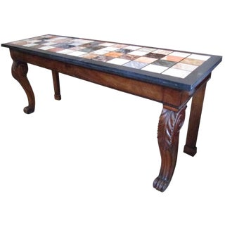 Regency Mahogany and Marble Specimen Console Table For Sale
