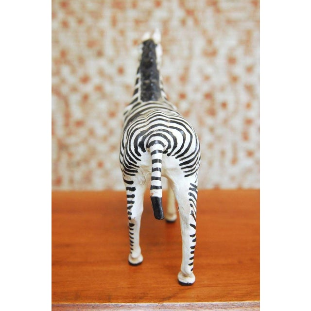Mid-Century Leather Wrapped African Zebra Sculpture - Image 5 of 7